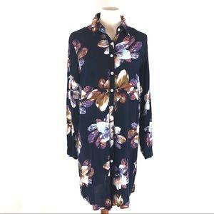 Meaneor Floral Print Lightweight Shirt Dress